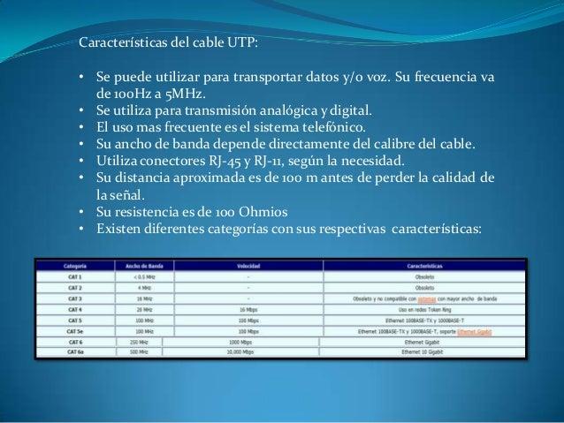 Características del cable UTP: • Se puede utilizar para transportar datos y/o voz. Su frecuencia va de 100Hz a 5MHz. • Se ...