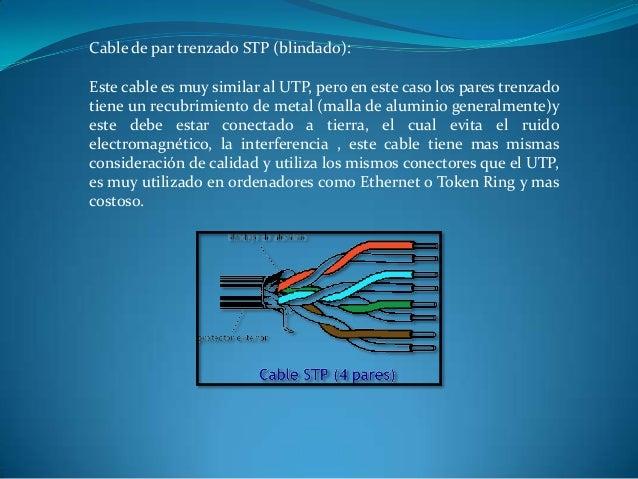 Cable de par trenzado STP (blindado): Este cable es muy similar al UTP, pero en este caso los pares trenzado tiene un recu...