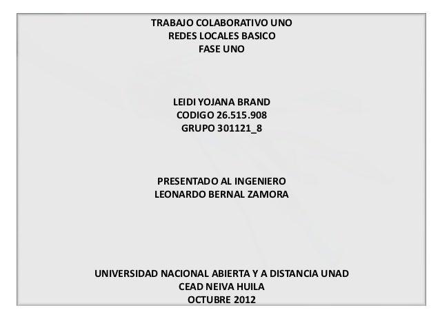 TRABAJO COLABORATIVO UNO             REDES LOCALES BASICO                   FASE UNO              LEIDI YOJANA BRAND      ...