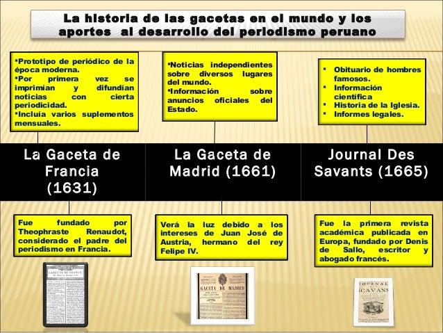 La Gaceta de Francia (1631) La Gaceta de Madrid (1661) Journal Des Savants (1665) Prototipo de periódico de la época mode...