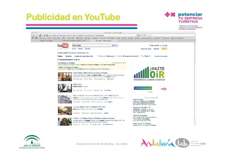Publicidad en YouTube      1/6/10   DepartamentodeMarke2ng‐Socialtec   108