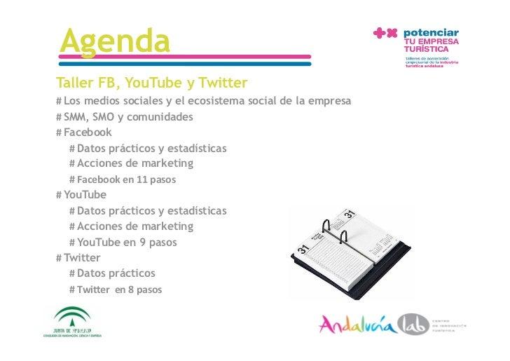 Agenda Taller FB, YouTube y Twitter #Los medios sociales y el ecosistema social de la empresa #SMM, SMO y comunidades #...