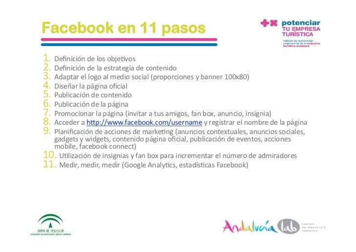 Facebook en 11 pasos 1. Definicióndelosobje2vos 2. Definicióndelaestrategiadecontenido 3. Adaptarellogoalme...