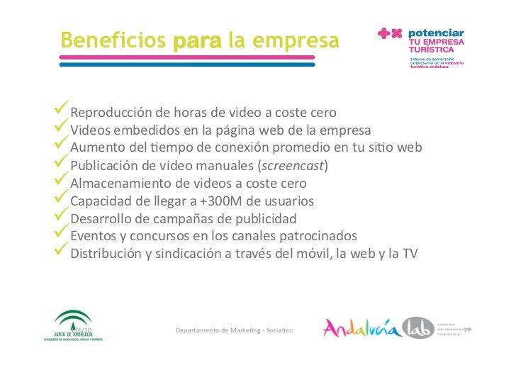 Beneficios para la empresa   Reproduccióndehorasdevideoacostecero Videosembedidosenlapáginawebdelaempr...