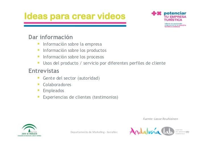 Ideas para crear videos   Dar información           Información sobre la empresa           Información sobre los produ...