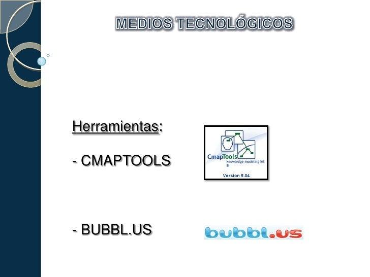 MEDIOS TECNOLÓGICOS<br />Herramientas:<br />- CMAPTOOLS<br />- BUBBL.US<br />