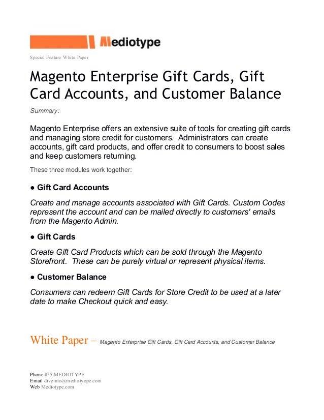 Mediotype White Paper - Magento Enterprise Gift Cards
