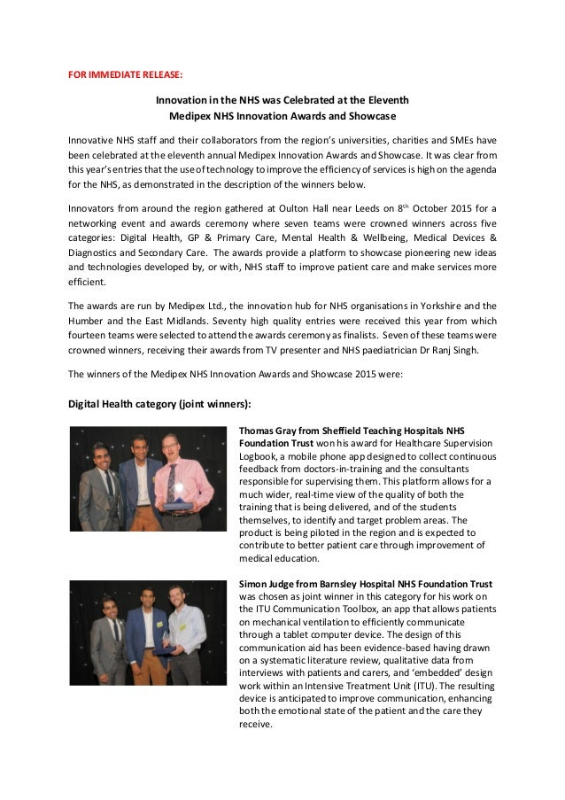 FOR IMMEDIATE RELEASE: Innovation in the NHS was Celebrated at the Eleventh Medipex NHS Innovation Awards and Showcase Inn...