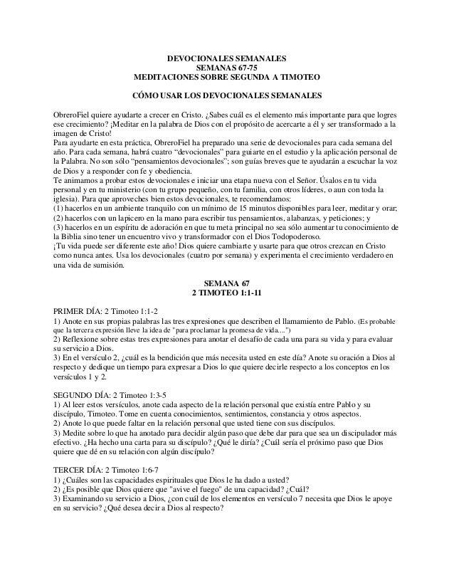DEVOCIONALES SEMANALES SEMANAS 67-75 MEDITACIONES SOBRE SEGUNDA A TIMOTEO CÓMO USAR LOS DEVOCIONALES SEMANALES ObreroFiel ...