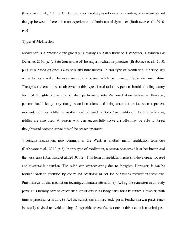 essay sample on meditation