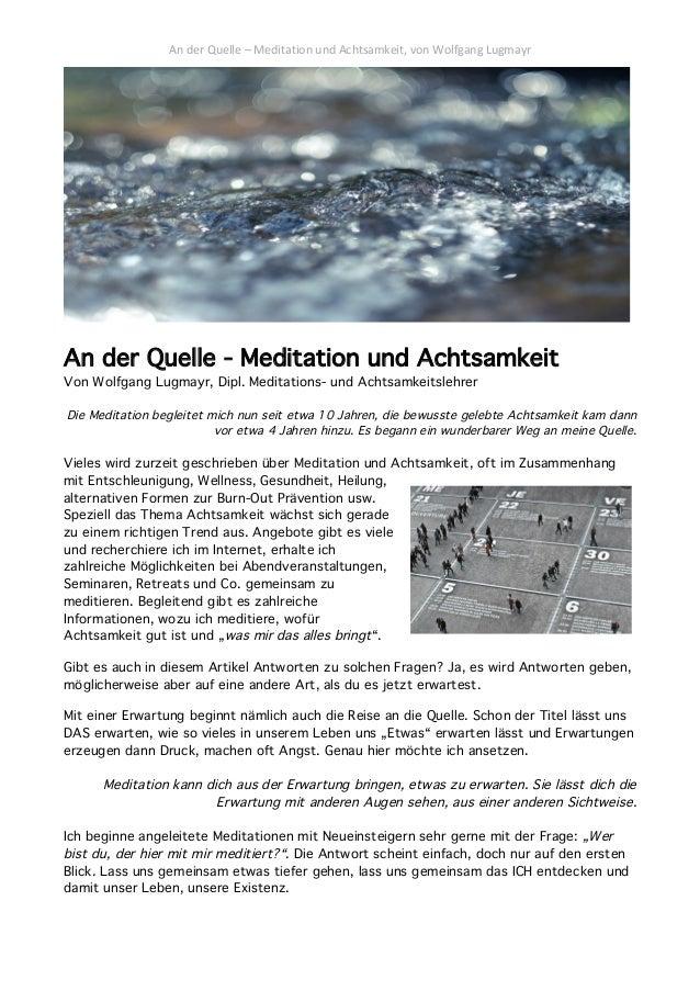 Meditation Und Achtsamkeit Direkt An Der Quelle