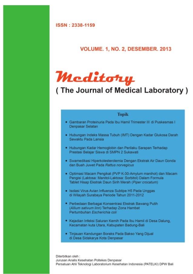 The Journal of Medical Laboratory Meditory Editorial Pembaca yang terhormat, Salam hangat dari kami kepada para pembaca me...