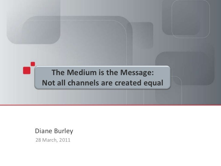 Presentation Title Goes Here<br />Presenter's Name, Titleand Date<br />The Medium is the Message:<br />Not all channels ar...