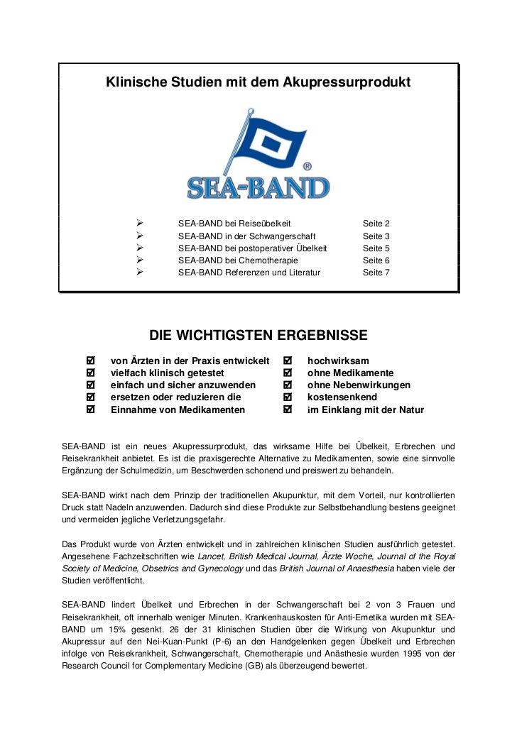 Klinische Studien mit dem Akupressurprodukt                            SEA-BAND bei Reiseübelkeit                     Sei...