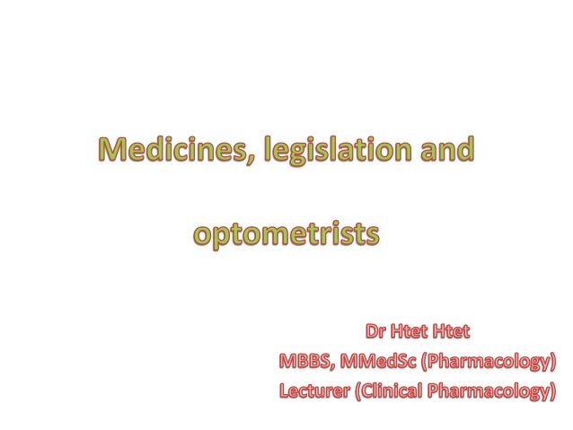 Duties and Responsibilities of an Optometrist • The optometrist has a duty to take due care in the use of drugs in optomet...