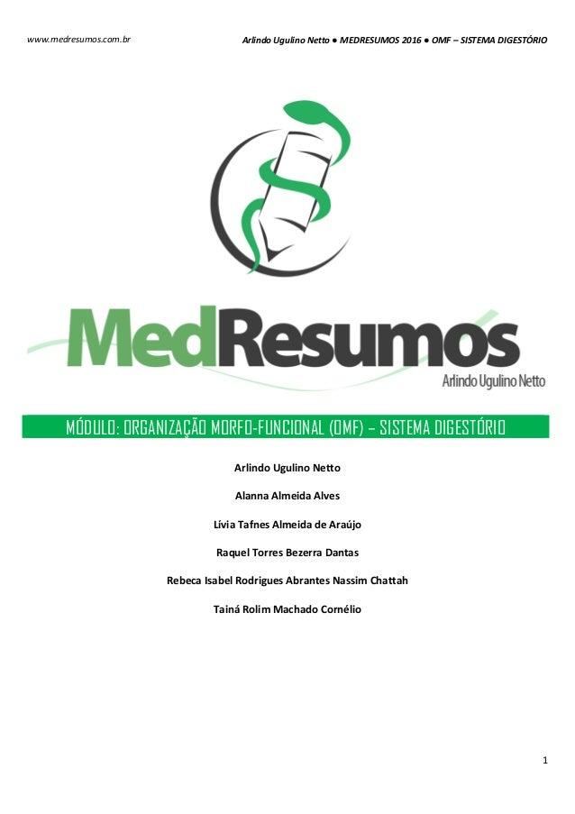 Arlindo Ugulino Netto ● MEDRESUMOS 2016 ● OMF – SISTEMA DIGESTÓRIO 1 www.medresumos.com.br MÓDULO: ORGANIZAÇÃO MORFO-FUNCI...