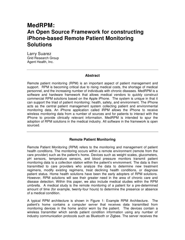 MedRPM: An Open Source Framework for constructing iPhone-based Remote Patient Monitoring Solutions Larry Suarez Grid Resea...