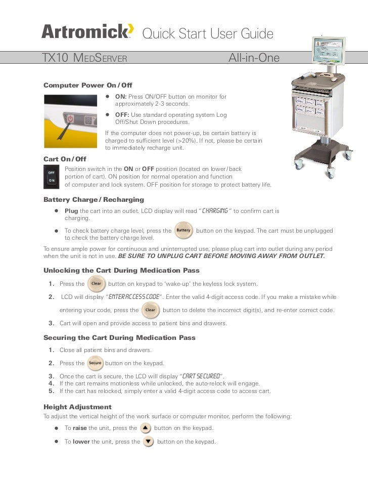 Quick Start User Guide TX10 MedServer                                                          All-in-One  Computer Power ...