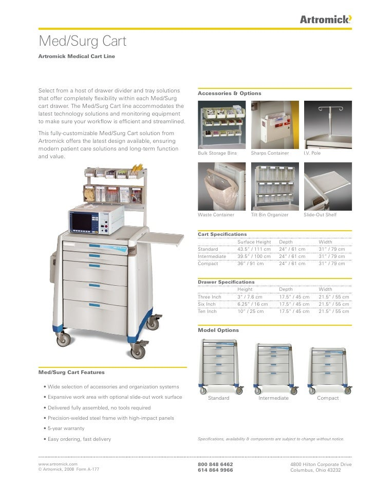 Med/Surg Cart Artromick Medical Cart Line     Select from a host of drawer divider and tray solutions        Accessories &...