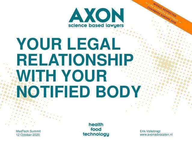 YOUR LEGAL RELATIONSHIP WITH YOUR NOTIFIED BODY MedTech Summit 12 October 2020 Erik Vollebregt www.axonadvocaten.nl