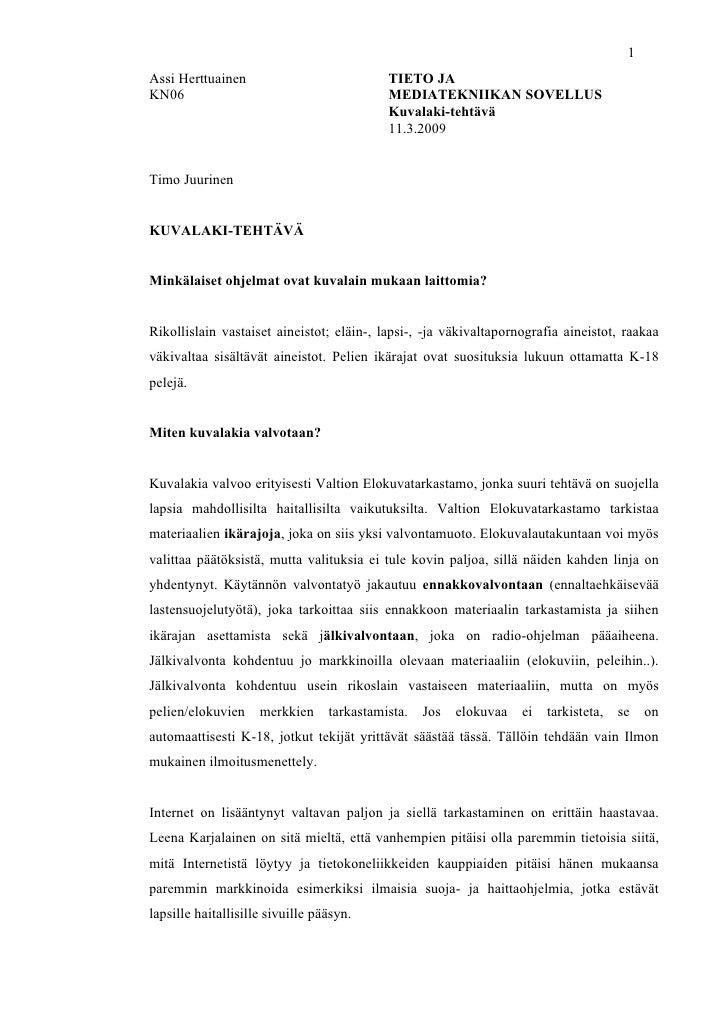 1 Assi Herttuainen                           TIETO JA KN06                                       MEDIATEKNIIKAN SOVELLUS  ...