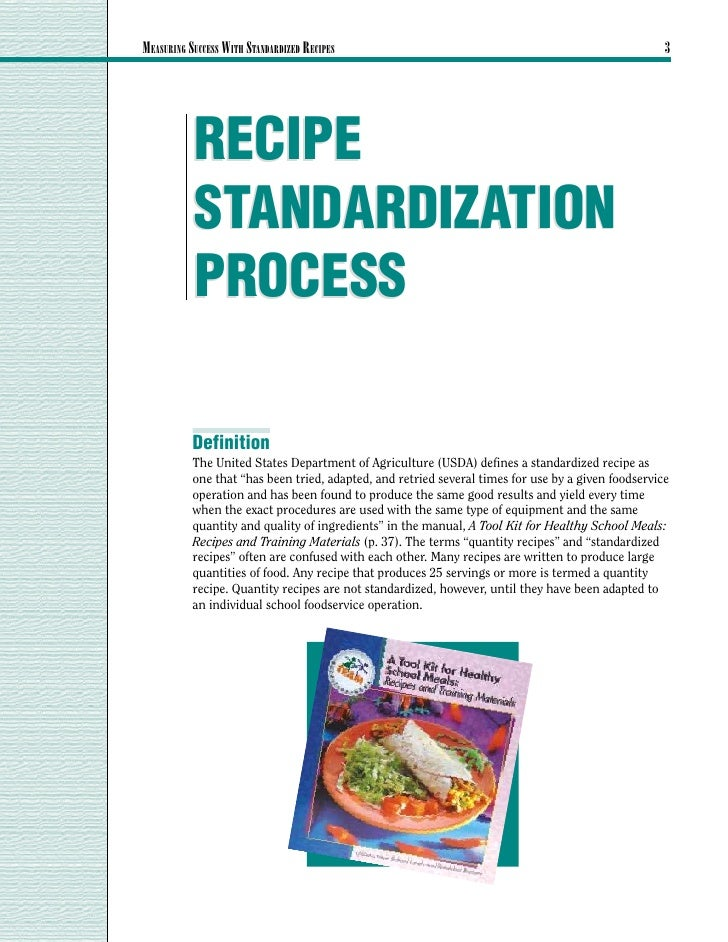 MEASURING SUCCESS WITH STANDARDIZED RECIPES                                                          3           RECIPE   ...