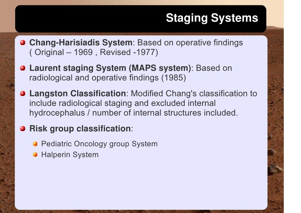 Staging Systems  Chang-Harisiadis System: Based on operative findings ( Original – 1969 , Revised -1977) Laurent staging S...