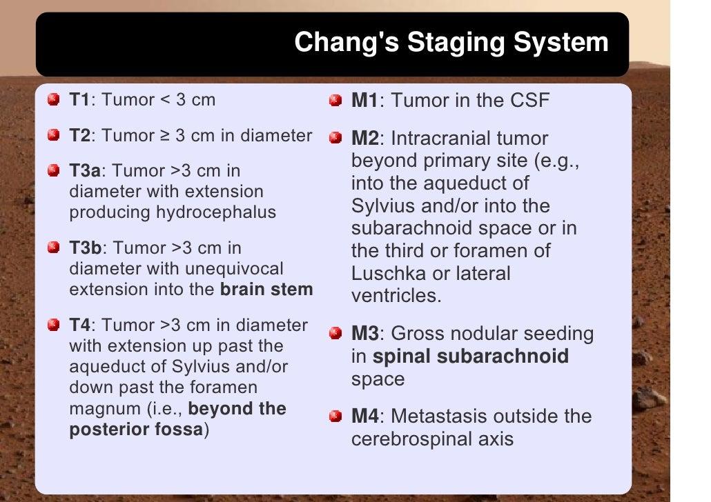 Chang's Staging System                                  M1: Tumor in the CSF T1: Tumor < 3 cm T2: Tumor ≥ 3 cm in diameter...