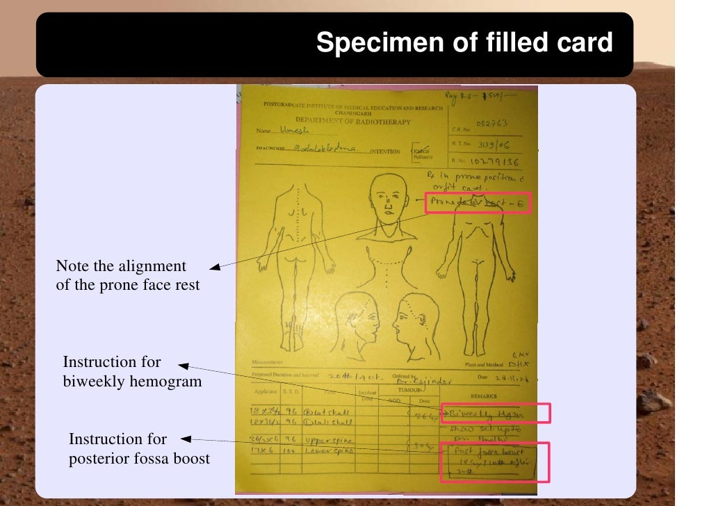 Specimen of filled card     Note the alignment of the prone face rest     Instruction for  biweekly hemogram    Instructio...