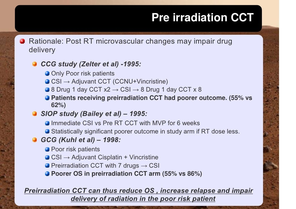 Pre irradiation CCT  Rationale: Post RT microvascular changes may impair drug  delivery     CCG study (Zelter et al) -1995...