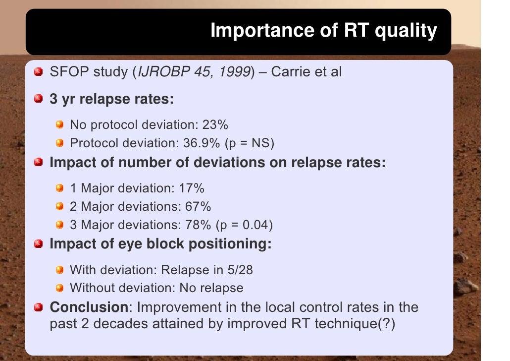 Importance of RT quality  SFOP study (IJROBP 45, 1999) – Carrie et al 3 yr relapse rates:    No protocol deviation: 23%   ...