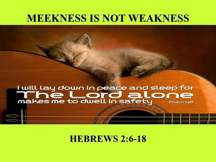 MEEKNESS IS NOT WEAKNESS HEBREWS 2:6-18