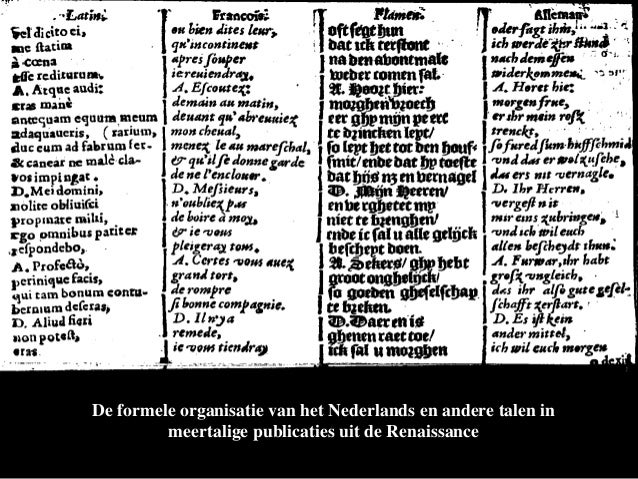 De formele organisatie van het Nederlands en andere talen in         meertalige publicaties uit de Renaissance