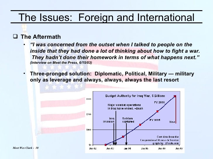 """The Issues:  Foreign and International <ul><li>The Aftermath </li></ul><ul><ul><li>"""" I was concerned from the outset when ..."""