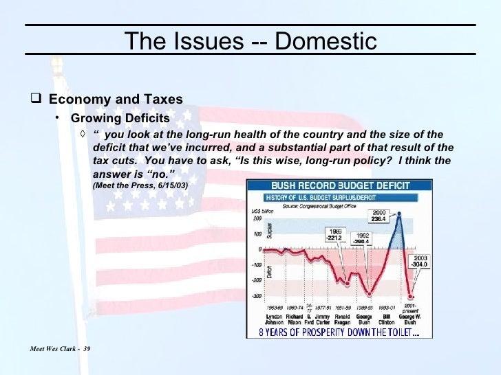 "The Issues -- Domestic <ul><li>Economy and Taxes </li></ul><ul><ul><li>Growing Deficits </li></ul></ul><ul><ul><ul><li>""  ..."