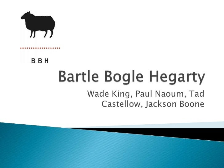 Bartle BogleHegarty<br />Wade King, Paul Naoum, Tad Castellow, Jackson Boone<br />
