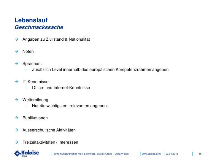 Bewerbungsworkshop Baloise Group 04/2012