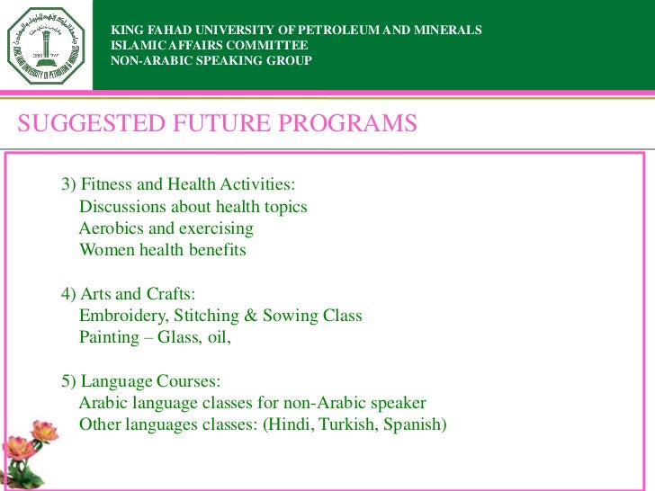 KING FAHAD UNIVERSITY OF PETROLEUM AND MINERALS        ISLAMIC AFFAIRS COMMITTEE        NON-ARABIC SPEAKING GROUPSUGGESTED...