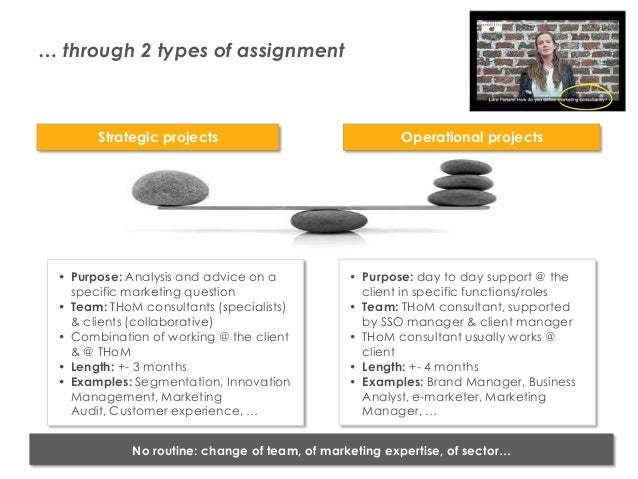 … through 2 types of assignment                  Strategic projects                                Operational projects   ...