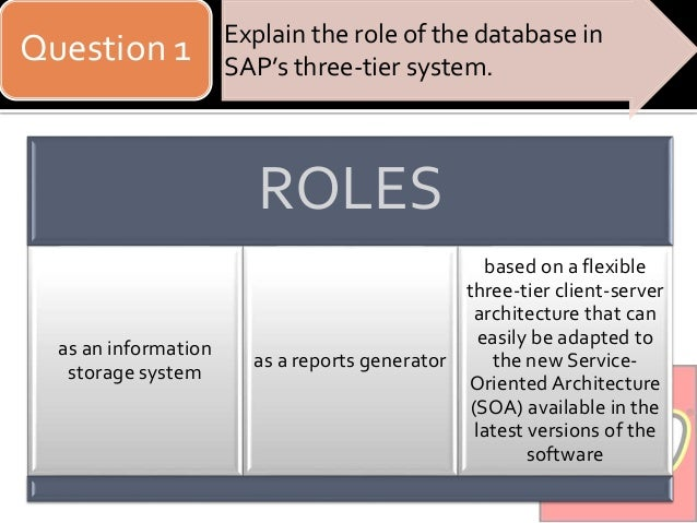 explain the role of the database in sap s three tier system 342 general framework for database access  514 three-tier system  landscape (d)  man-speaking sap user group) is based upon three pillars   this way, results and functions of the application logic are displayed to.