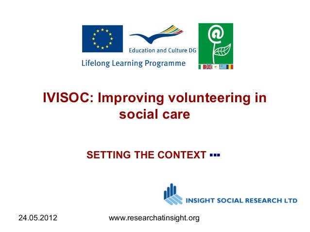 24.05.2012 www.researchatinsight.org IVISOC: Improving volunteering in social care SETTING THE CONTEXT ▪▪▪