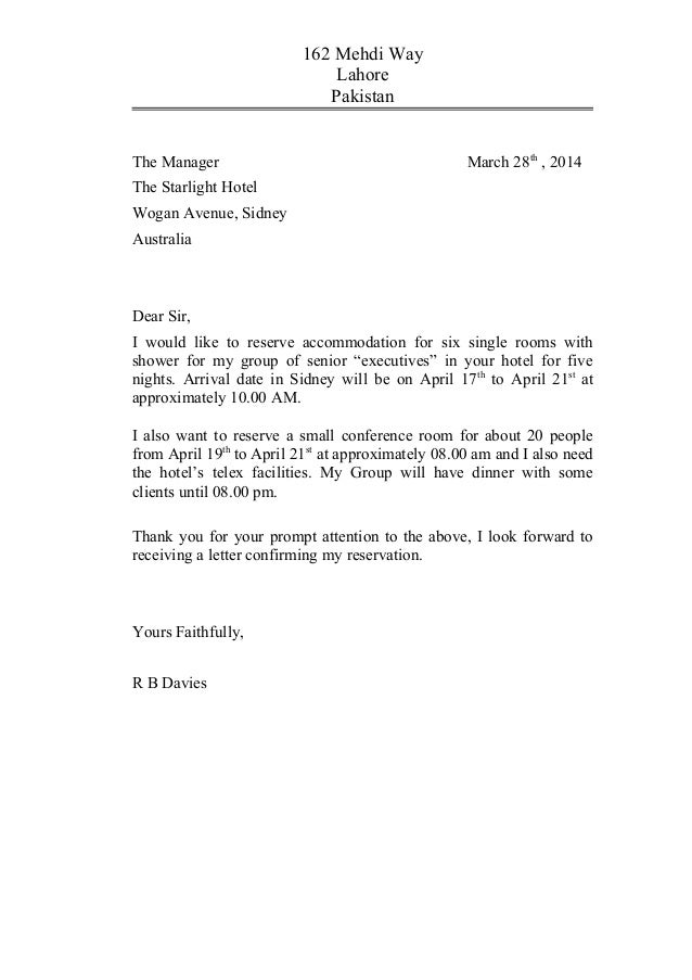 Meeting  Reservation Letter