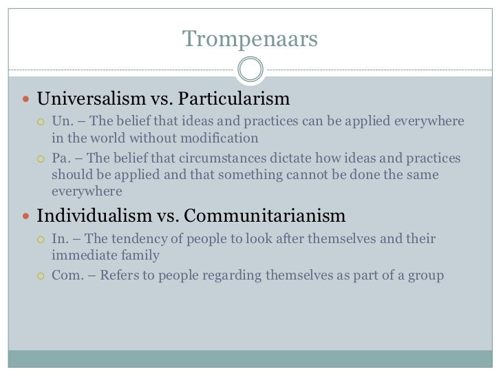 trompanaaras communitarianism vs individualism Geert hofstede vs fons trompenaars geert hofstede one of these is the closeness between the notions of collectivism vs individualism of hofstede and communitarianism vs individualism of trompenaars for a marketer, from our point of view.