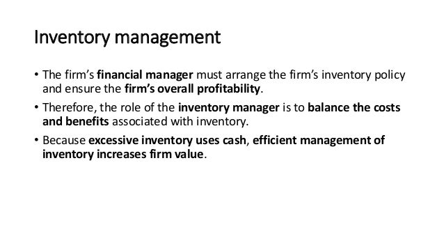 Meeting 6 Inventory Management Financial Management