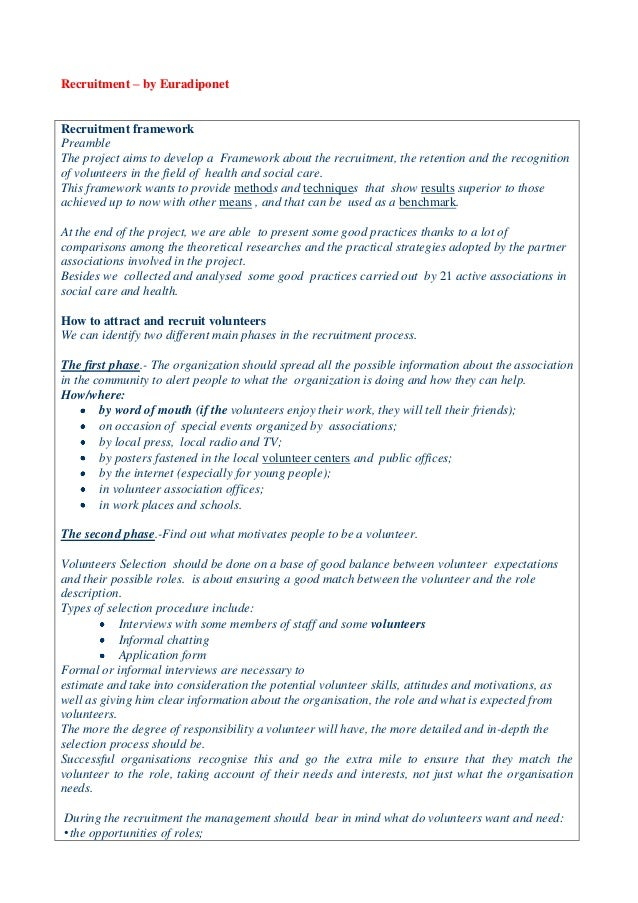 Recruitment – by Euradiponet Recruitment framework Preamble The project aims to develop a Framework about the recruitment,...