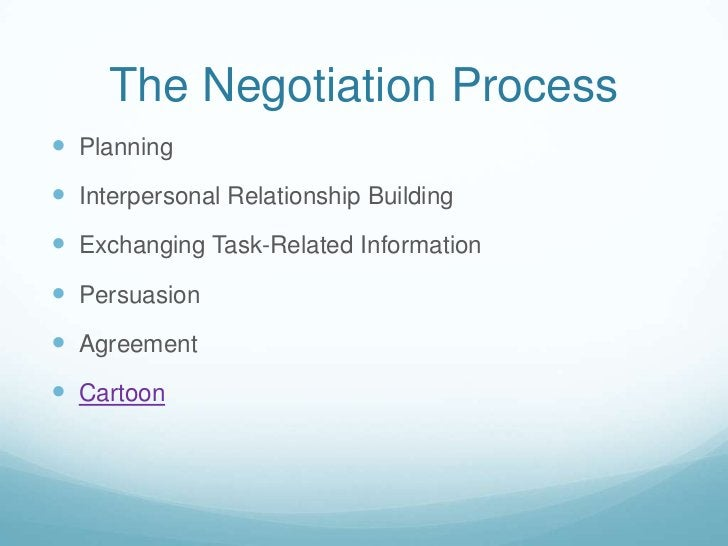 The Negotiation Process<br />Planning<br />Interpersonal Relationship Building<br />Exchanging Task-Related Information<br...