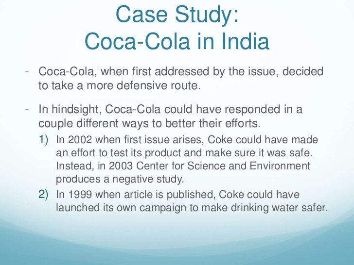 In hindsight, Coca-Cola could have responded in a couple different ways to better their efforts.</li></ul>In 2002 when fir...