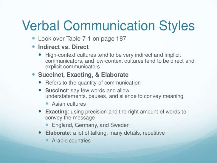 Verbal Communication Styles<br />Look over Table 7-1 on page 187<br />Indirect vs. Direct<br />High-context cultures tend ...