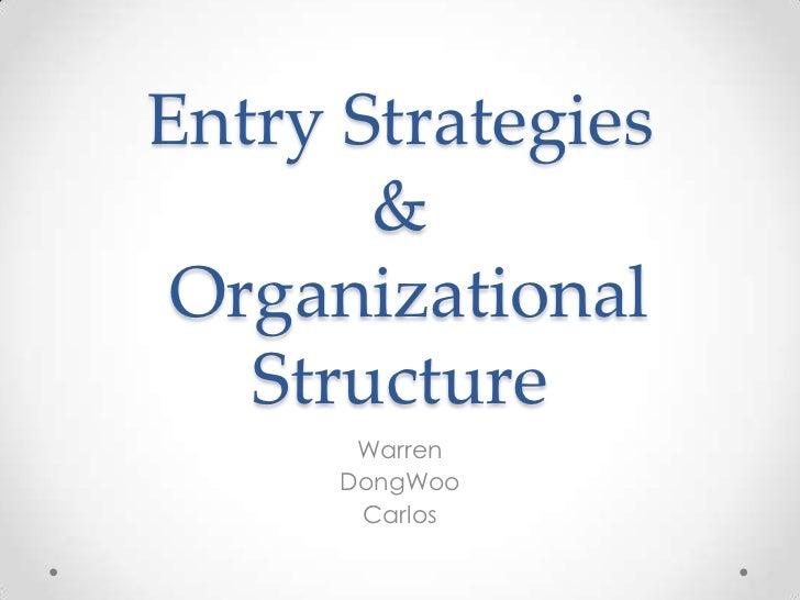 Entry Strategies & Organizational Structure<br />Warren<br />DongWoo<br />Carlos <br />