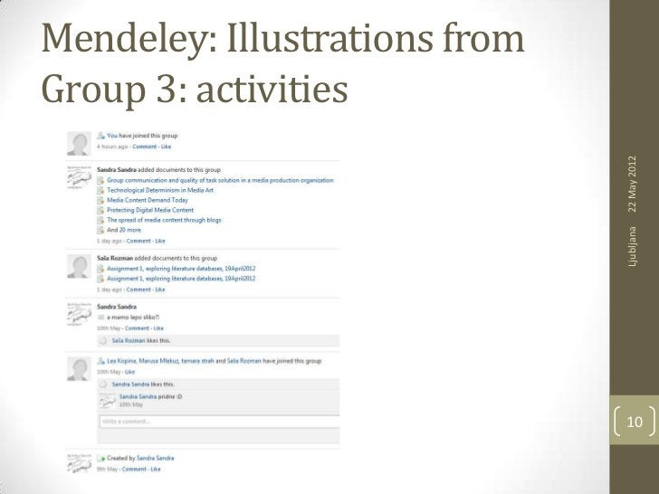 Mendeley: Illustrations fromGroup 3: activities                               22 May 2012                               Lj...